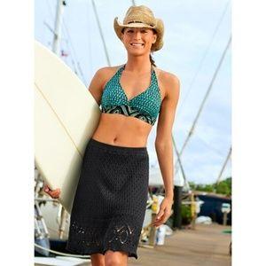 Athleta Boho skirt black cutback crochet knit Sz S